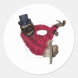 classy sloth round sticker
