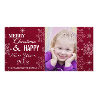 Classy Snowflake Christmas & New Years Photo Cards