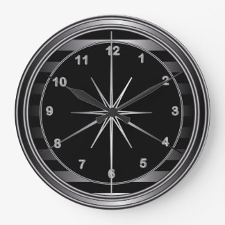 Classy Steel and Black Stripes Clock