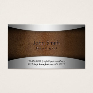 Classy Steel & Leather Geologist Business Card
