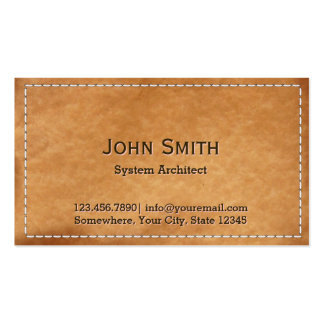 Classy Stitched Leather System Architect Pack Of Standard Business Cards