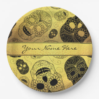 Classy Stylish Gold & Black Sugar Skulls with Name 9 Inch Paper Plate