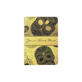 Classy Stylish Gold & Black Sugar Skulls with Name Passport Holder