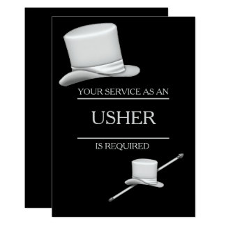 Classy Stylish Silver Top Hat Ring Usher Card