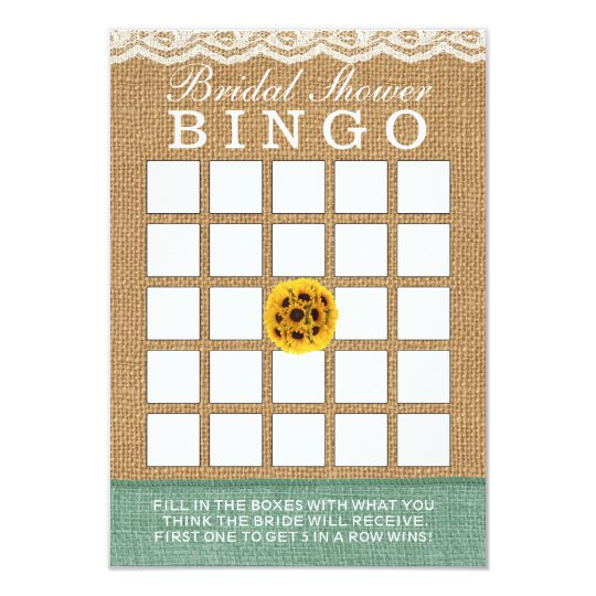 Classy Sunflower Ball Burlap Bridal Shower Bingo Card