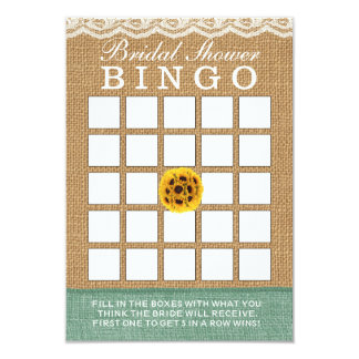 Classy Sunflower Ball Burlap Bridal Shower Bingo Card