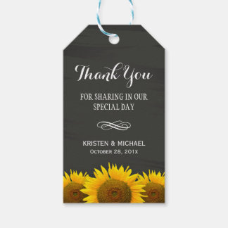 Classy Sunflowers Chalkboard Wedding Thank You Gift Tags