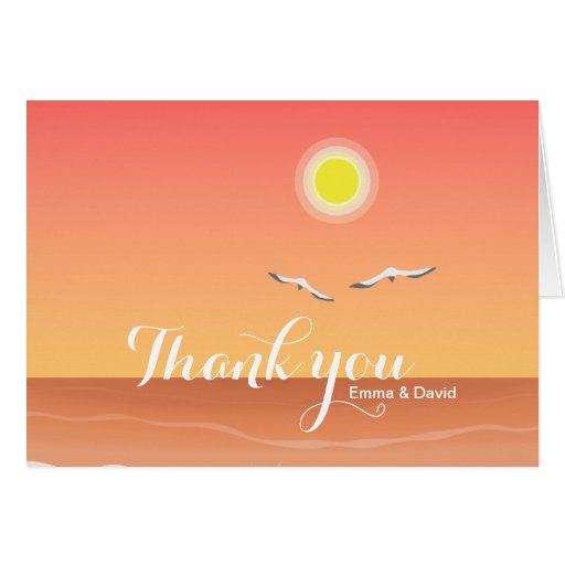 Classy Sunset Beach Wedding Thank You Cards