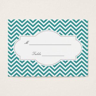 Classy Teal Chevron Stripes Wedding Place Card