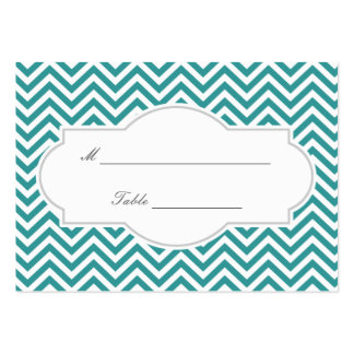 Classy Teal Chevron Stripes Wedding Place Card Pack Of Chubby Business Cards