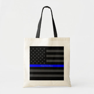Classy Thin Blue Line Personalized Black US Flag Tote Bag