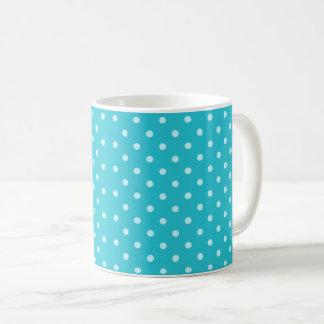 Classy Turquoise Blue Polka Dot Pattern Coffee Mug