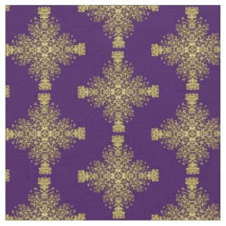 Classy Vintage Floral Damask Purple Gold Mix Fabric