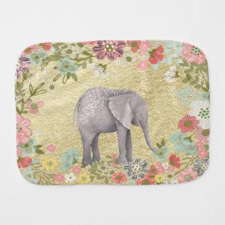 Classy Watercolor Elephant Floral Frame Gold Foil Baby Burp Cloths