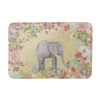 Classy Watercolor Elephant Floral Frame Gold Foil Bath Mat
