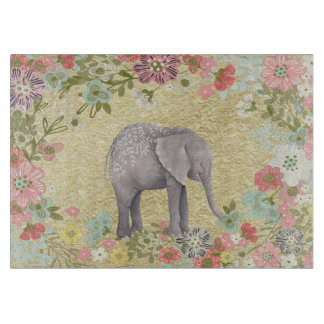 Classy Watercolor Elephant Floral Frame Gold Foil Cutting Board
