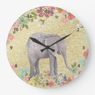 Classy Watercolor Elephant Floral Frame Gold Foil Large Clock