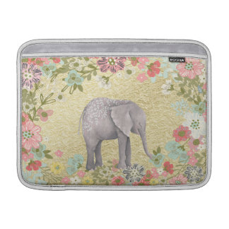 Classy Watercolor Elephant Floral Frame Gold Foil MacBook Sleeves