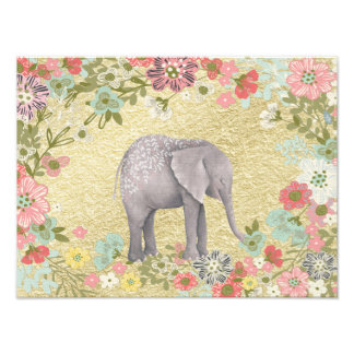 Classy Watercolor Elephant Floral Frame Gold Foil Photo Print