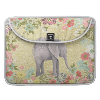 Classy Watercolor Elephant Floral Frame Gold Foil Sleeve For MacBooks