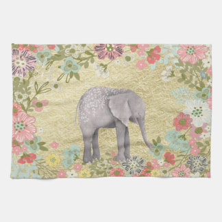 Classy Watercolor Elephant Floral Frame Gold Foil Tea Towel