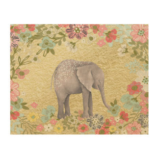 Classy Watercolor Elephant Floral Frame Gold Foil Wood Canvas