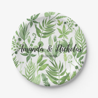 Classy Watercolor wild meadow green Wedding Paper Plate