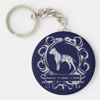 Classy Weathered American Staffordshire Terrier Key Ring