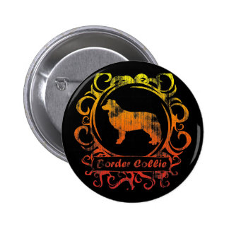 Classy Weathered Border Collie 6 Cm Round Badge