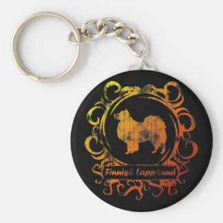 Classy Weathered Finnish Lapphund Key Ring
