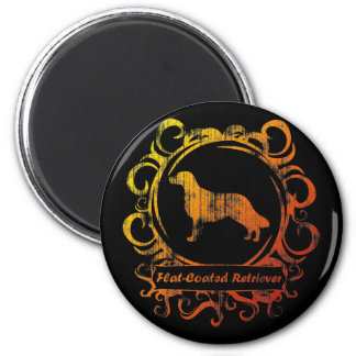 Classy Weathered Flat-Coated Retriever 6 Cm Round Magnet