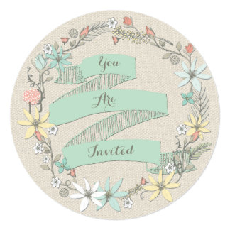 Classy Wedding Floral Wreath and Banner 13 Cm X 13 Cm Square Invitation Card