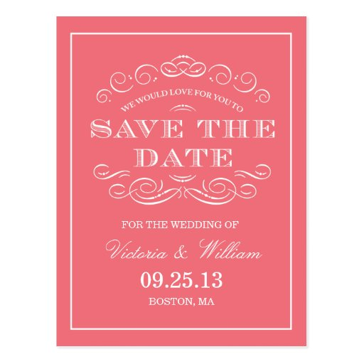 CLASSY WEDDING  | SAVE THE DATE ANNOUNCEMENT POST CARD