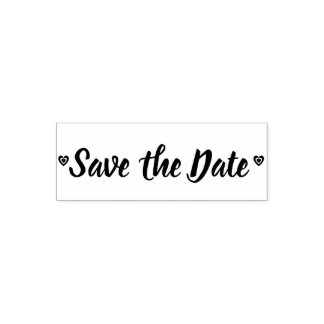 Classy Wedding Save the Date Hearts Love Self-inking Stamp