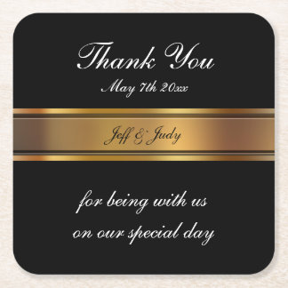 Classy Wedding Thank You Square Paper Coaster
