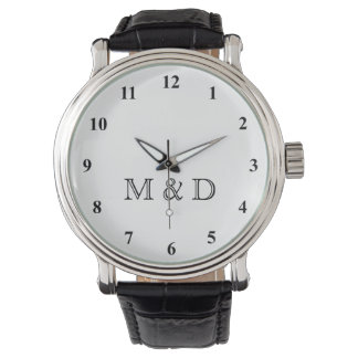 Classy wedding watches with custom monogram