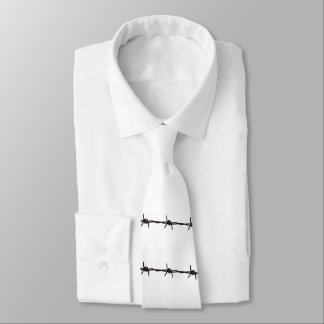 Classy White and Black Rustic Barbed Wire Tie