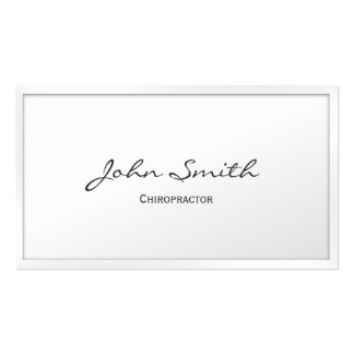Classy White Border Chiropractor Business Card