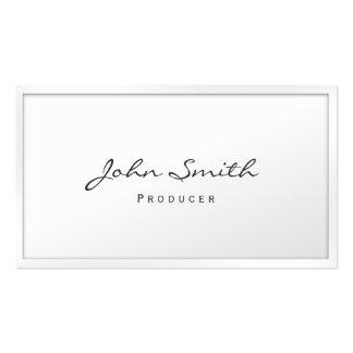 Classy White Border Producer Business Card