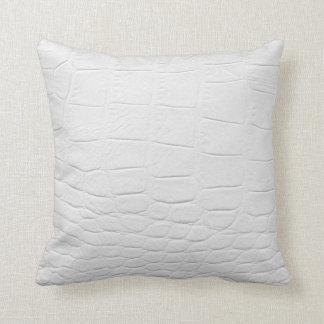 classy white crocodile leather cushion