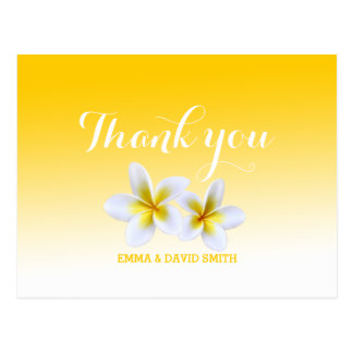 Classy White Frangipani Theme Thank You Postcard