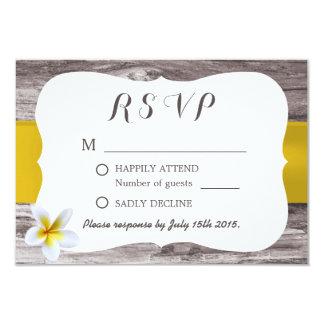 Classy White Frangipani Theme Wedding RSVP 3.5x5 Paper Invitation Card