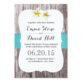 Classy White Frangipani Tiffany Blue Beach Wedding 13 Cm X 18 Cm Invitation Card