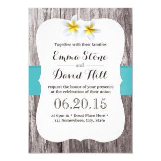 Classy White Frangipani Tiffany Blue Beach Wedding Card