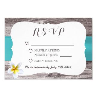 Classy White Frangipani Tiffany Blue Wedding RSVP 9 Cm X 13 Cm Invitation Card