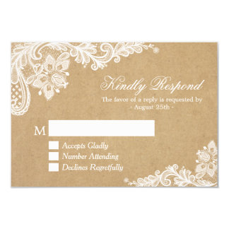 Classy White Lace in Kraft Wedding RSVP Reply 9 Cm X 13 Cm Invitation Card