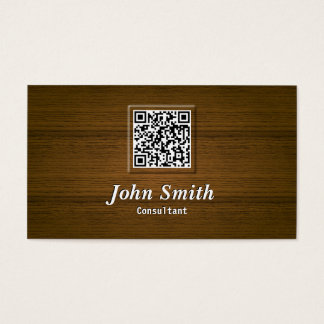Classy Wood QR Code Consultant Business Card