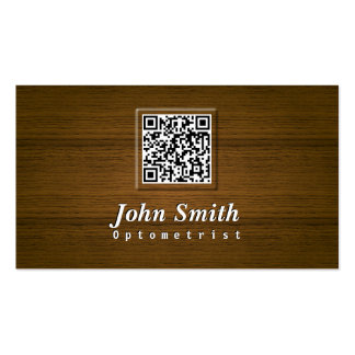 Classy Wood QR Code Optometrist Business Card