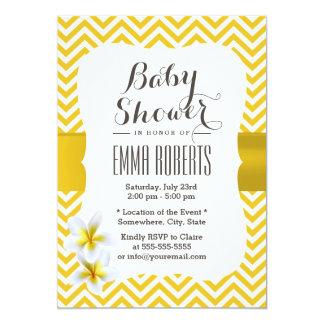 Classy Yellow Chevron Plumeria Baby Shower Invite