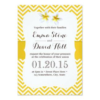Classy Yellow Chevron Plumeria Wedding 13 Cm X 18 Cm Invitation Card